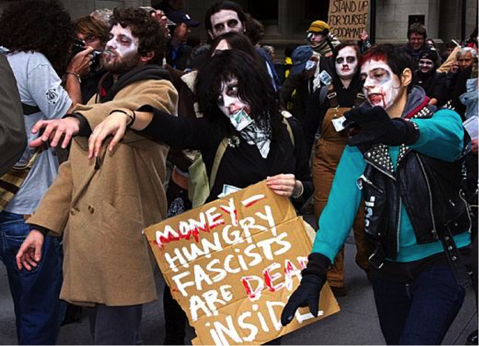 Protesters from Occupy Wall Street march through New York's financial district as 'corporate zombies' in 2011